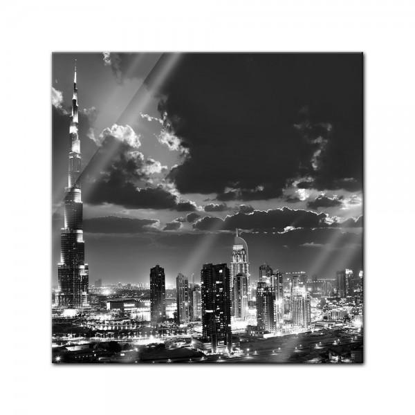 Glasbild - Dubai bei Nacht schwarz weiss