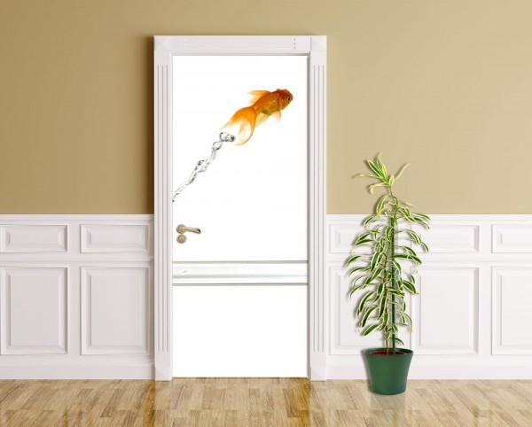Türaufkleber - Springender Goldfisch