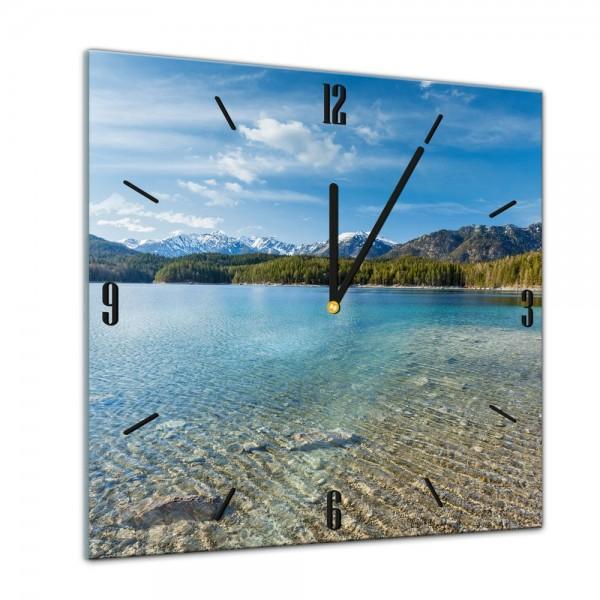 Glasuhr - Städte, Seen & Landschaften - Eibsee und Zugspitze in Bayern - 40x40cm