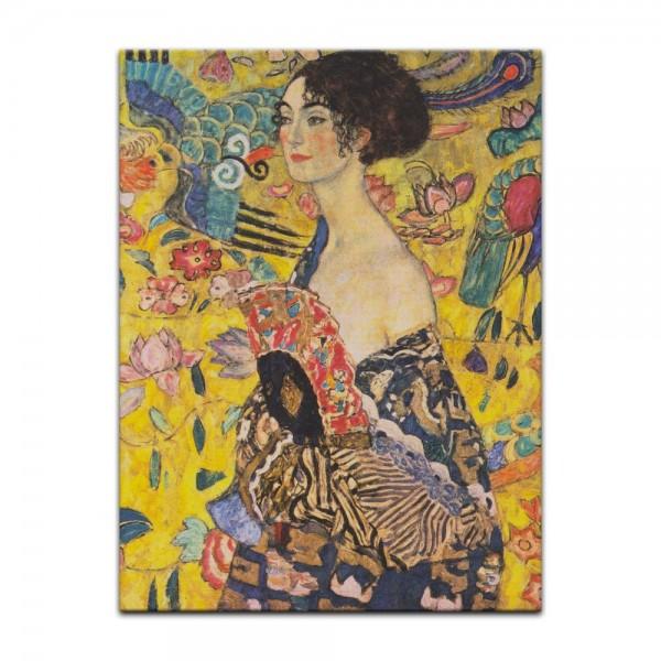 Leinwandbild - Gustav Klimt - Dame mit Fächer