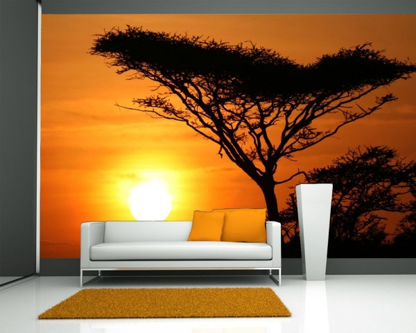 Fototapete Akazienbaum im Sonnenuntergang, Tanzania Serengeti Afrika