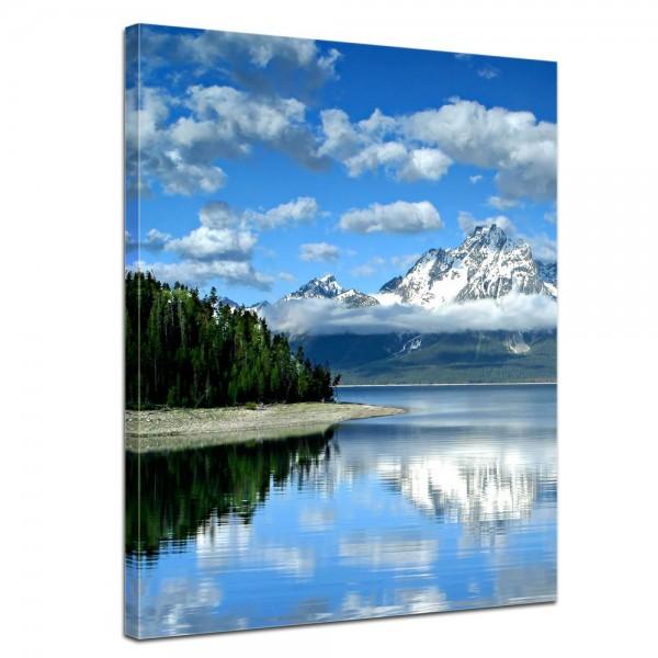 SALE Leinwandbild - Berglandschaft am Lake Jackson - Wyoming USA - 40x50 cm