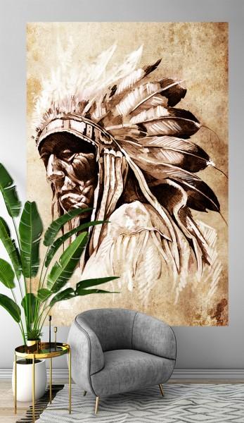 SALE Fototapete - Indianer mit Federschmuck - 150 cm x 225 cm - farbig