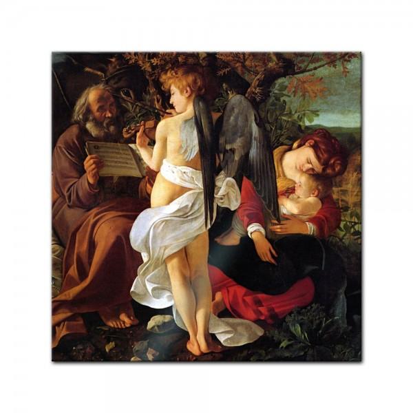 Glasbild Caravaggio - Alte Meister - Ruhe auf der Flucht nach Ägypten