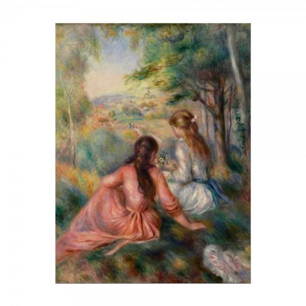 Leinwandbild - Pierre-Auguste Renoir - Junge Mädchen auf der Wiese