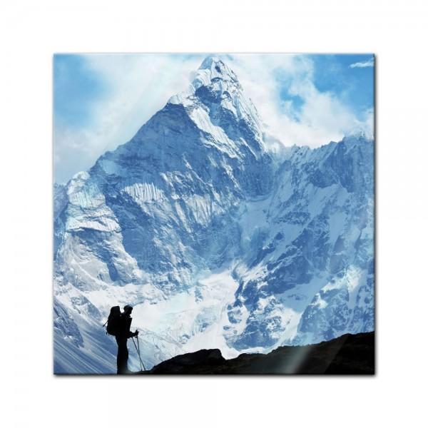 Glasbild - Klettern im Himalaya