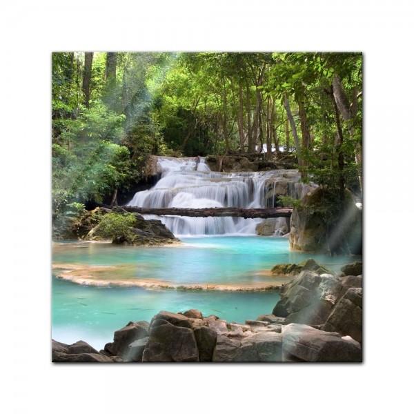 Glasbild - Wasserfall im Wald