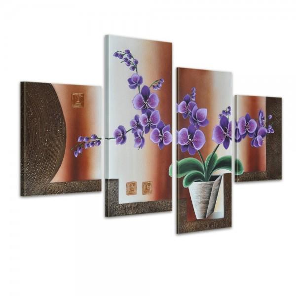 Blumen M19 - Leinwandbild 4 teilig 120x80cm Handgemalt