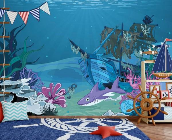 selbstklebende Fototapete - Kinderbild - Hai mit Schiffswrack