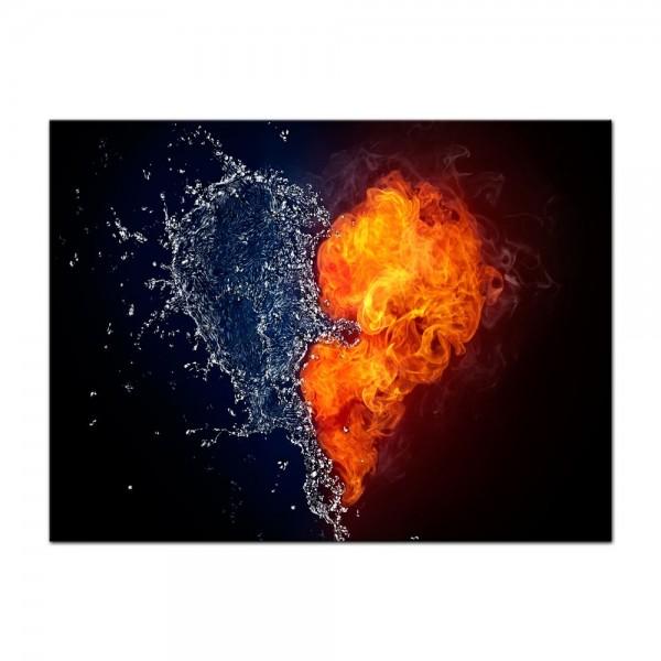 Leinwandbild - Herz Feuer und Wasser