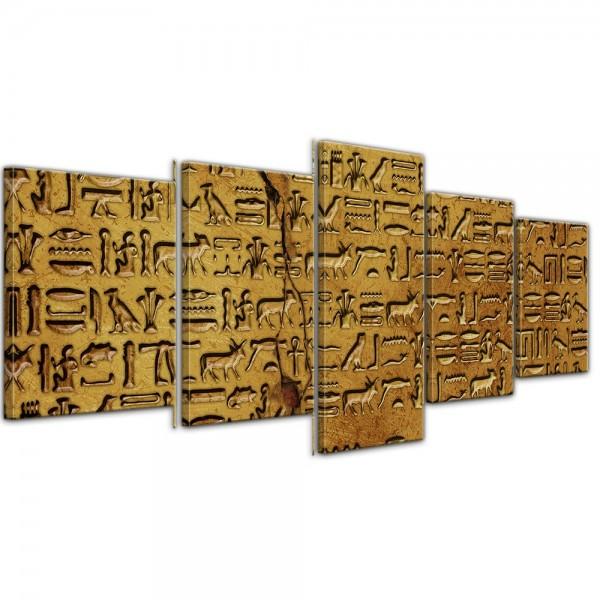 SALE Leinwandbild - Hieroglyphen - 200x80 cm 5tlg