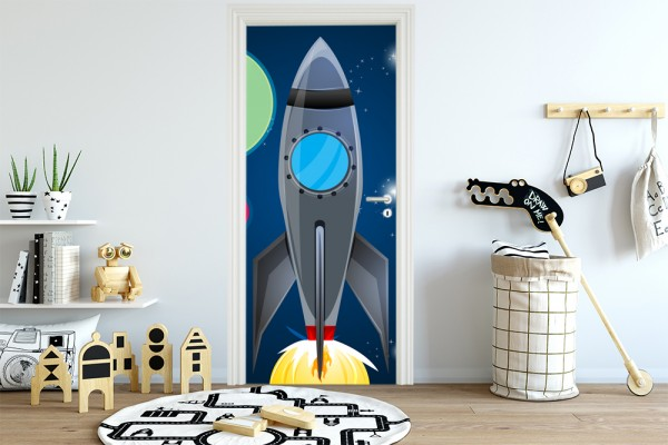 Türaufkleber - Kinderbild Rakete