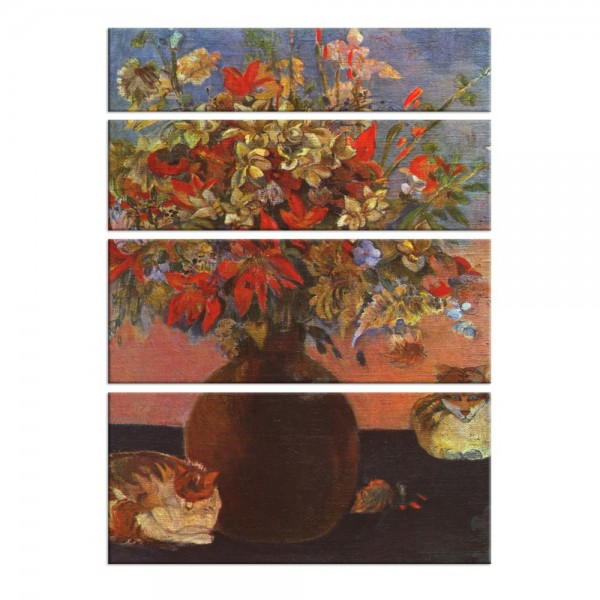Leinwandbild - Paul Gauguin - Blumen und Katzen