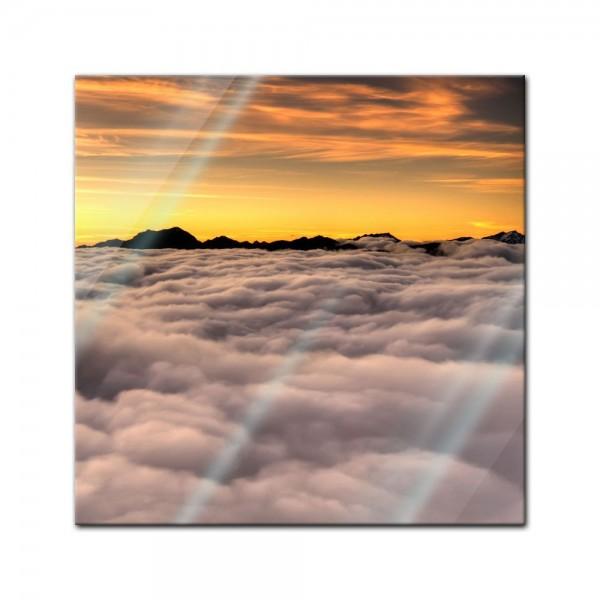 Glasbild - Dramatischer Sonnenuntergang