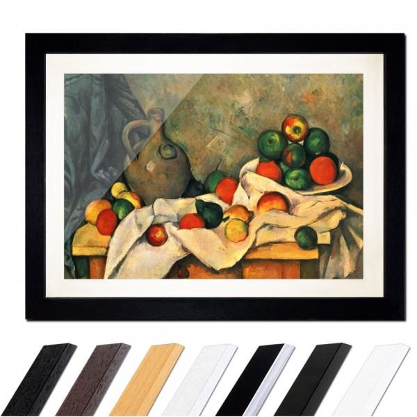 Paul Cézanne - Stillleben mit Vorhang, Krug und Obstschale