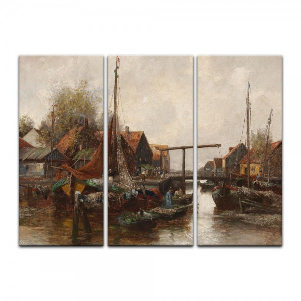 Leinwandbild - Adolf Kaufmann - In the Harbour