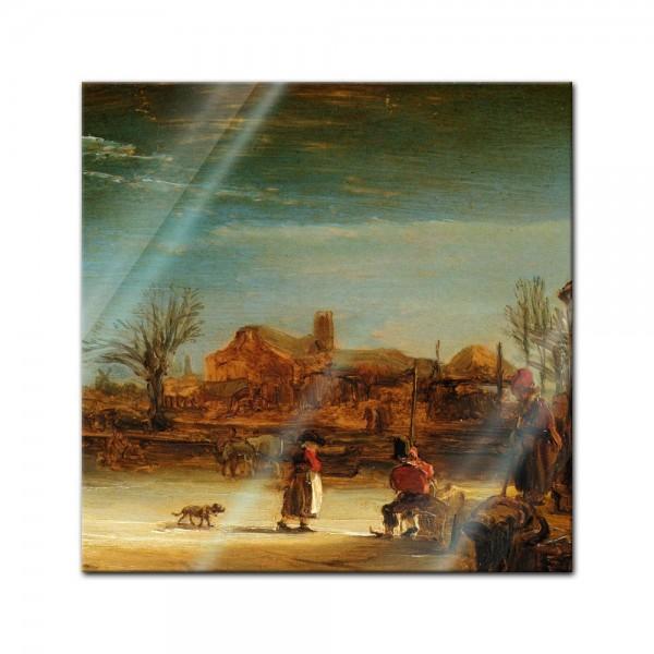Glasbild Rembrandt - Alte Meister - Winterlandschaft