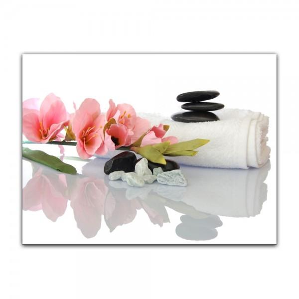 Leinwandbild - Gladiole und Zensteine