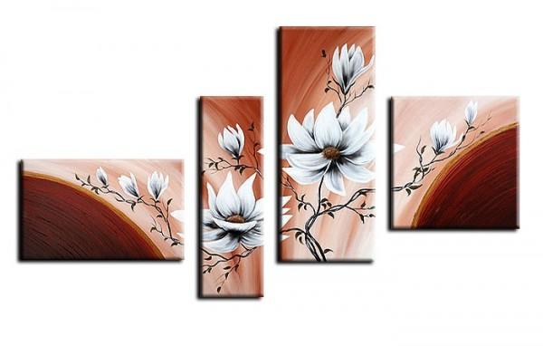 Blütenmotiv M8 - Leinwandbild 4 teilig 140x80cm Handgemalt