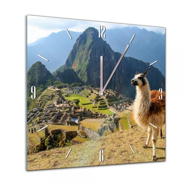Glasuhr - Tiere - Alpaka am Machu Picchu - Peru - 40x40cm