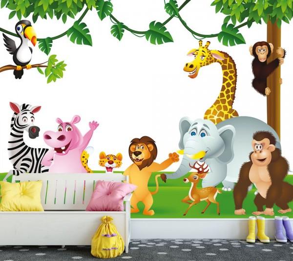 Fototapete - Kinderbild Tiere Cartoon III