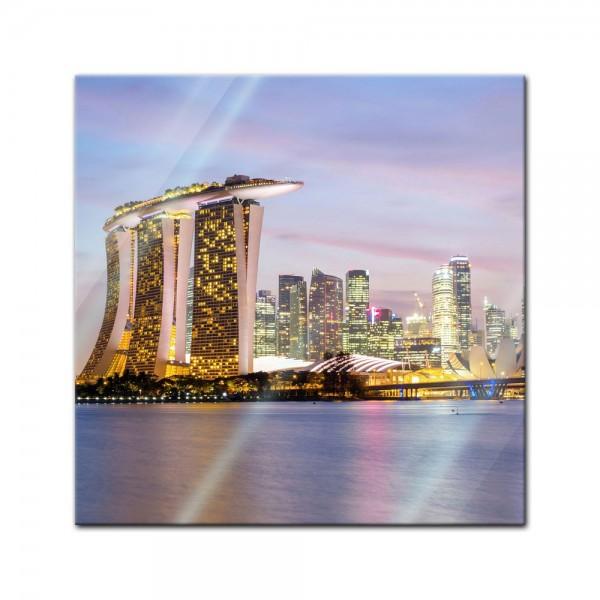 Glasbild - Singapur - Skyline II