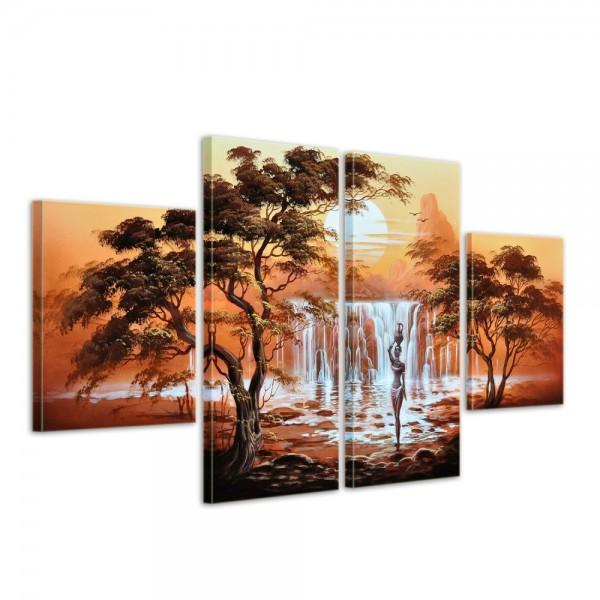 Afrikanische Kunst M2 - Leinwandbild 4 teilig 120x70cm Handgemalt