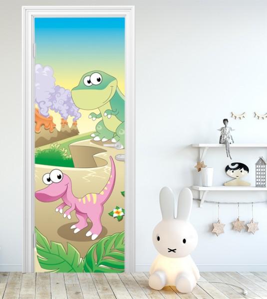 Türaufkleber - Kinderbild Baby Dinos