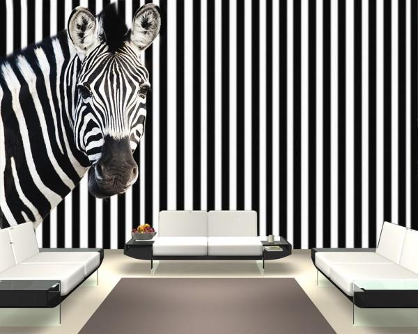 Fototapete - Zebra vor einem gestreiften Hintergrund