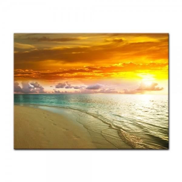 Leinwandbild - Strand Sonnenuntergang II