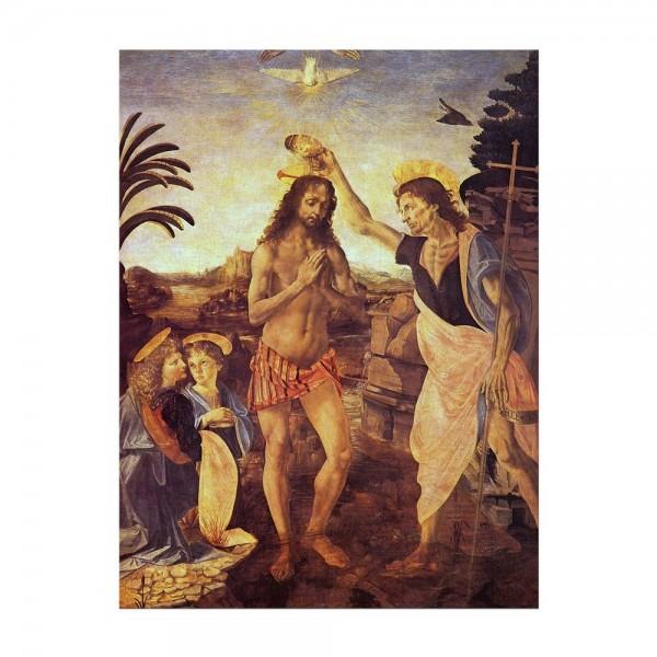 Leinwandbild - Leonardo da Vinci und Andrea del Verrocchio - Taufe Christi