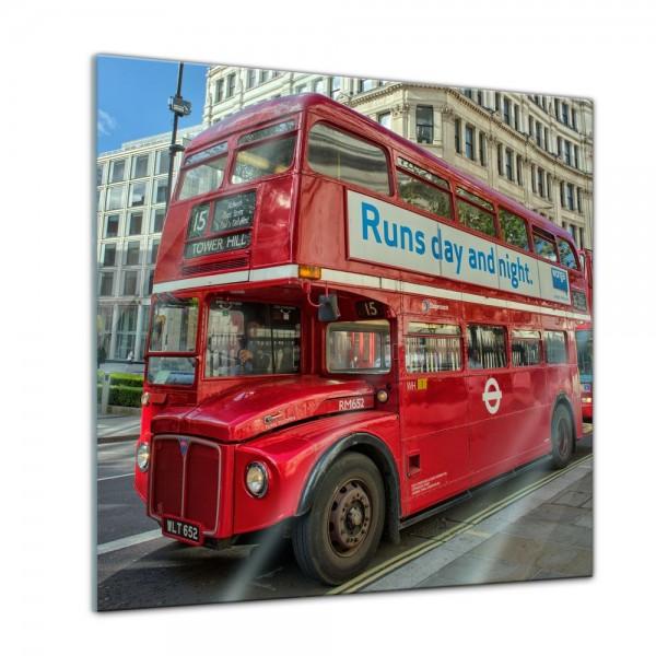 Glasbild - Roter Doppeldeckerbus London