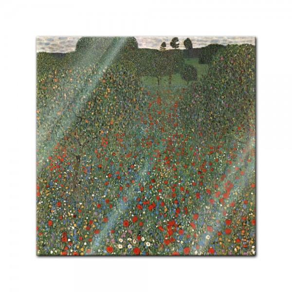 Glasbild Gustav Klimt - Alte Meister - Mohnfeld