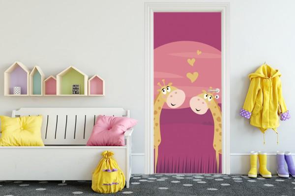 Türaufkleber - Kinderbild verliebte Giraffen - Vintage