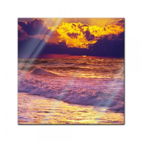 Glasbild - Strand Sonnenuntergang III
