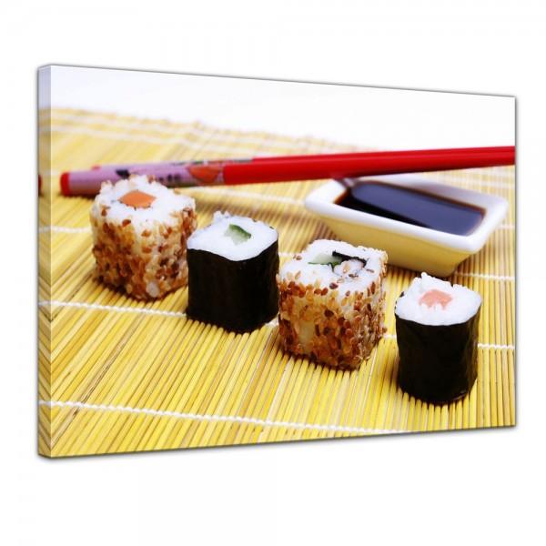 SALE Leinwandbild - Sushi mit Stäbchen und Sojasoße - 80x60 cm