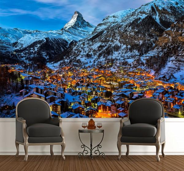 Fototapete - Zermatt am Matterhorn in der Schweiz