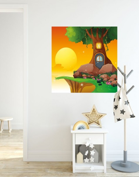 selbstklebende Fototapete - Kinderbild - Baumhaus Cartoon