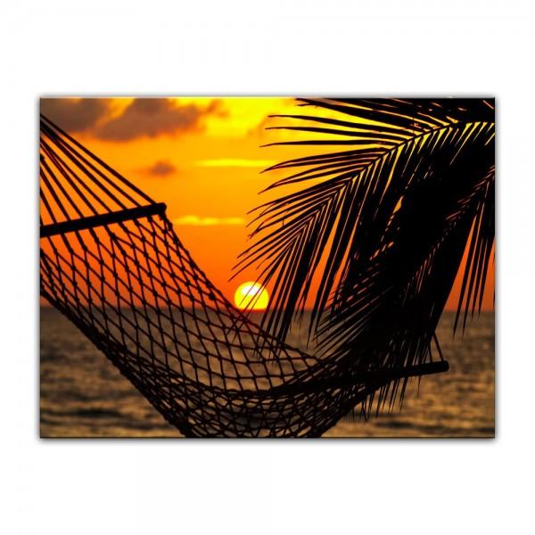 Leinwandbild - Palmen, Hängematte und Sonnenuntergang