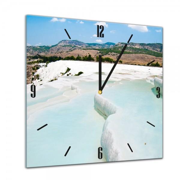 Glasuhr - Sonne, Strand und Meer - Pamukkale - Türkei - 40x40cm