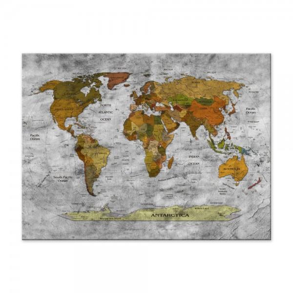 Leinwandbild - Weltkarte retro II sw