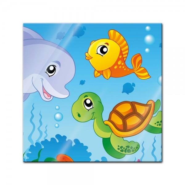 Glasbild - Kinderbild Unterwasser Tiere III