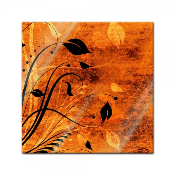 Glasbild - Blumen Grunge IV
