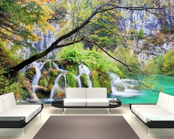 Fototapete Wasserfall im Lakes National Park - Kroatien