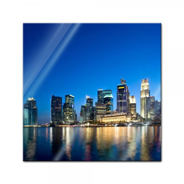 Glasbild - Singapur - Skyline