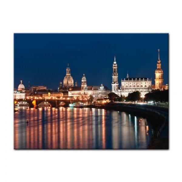 Leinwandbild - Dresden Skyline bei Nacht - Deutschland