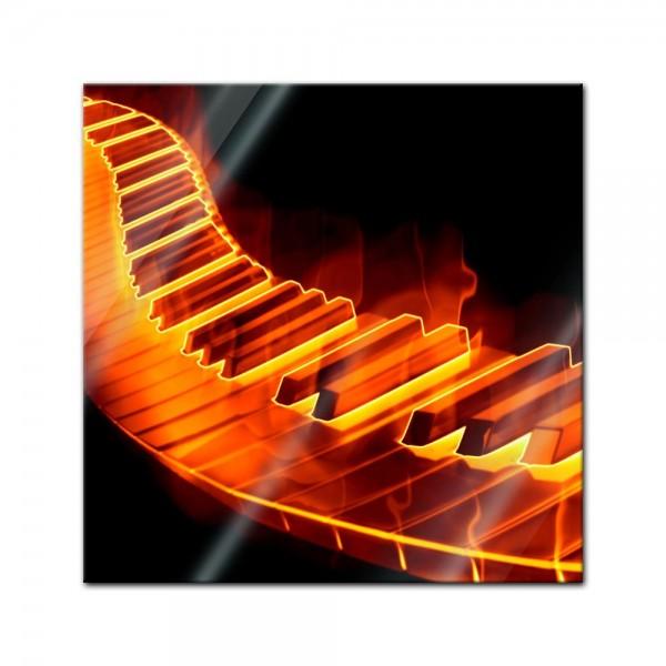 Glasbild - Keyboard on Fire