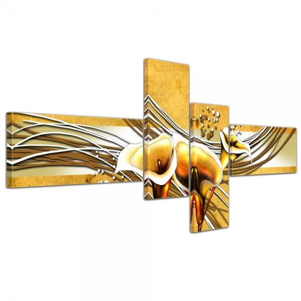 SALE Leinwandbild - Abstrakte Kunst Calla gelb - 200x90 cm 4tlg