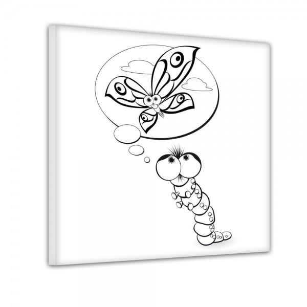 Raupe träumt von Schmetterling - Ausmalbild