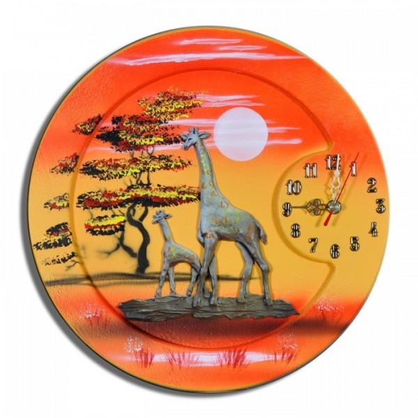 Wanduhr Giraffen M1 rund